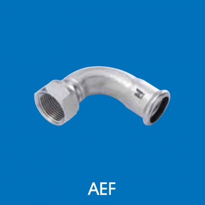 Hoto Press Fit Stainless Steel Fittings Series 90° Adaptor Elbow With Female Thread (Tapered Thread) AEF