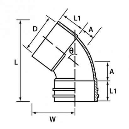Paling Soil Waste and Vent UPVC Fitting Series 45° Unswept Bend