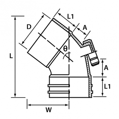 Paling Soil Waste and Vent UPVC Fitting Series 45° Unswept Bend With Inspection Opening