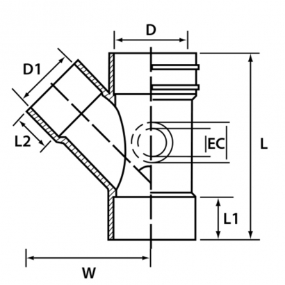 Paling Soil Waste and Vent UPVC Fitting Series 45° Y Branch